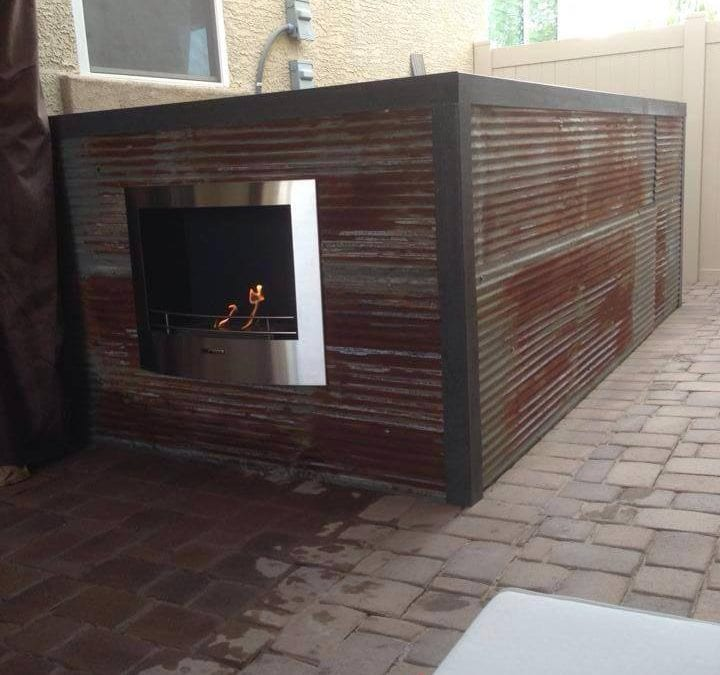Corrugated AC Wall and Fireplace
