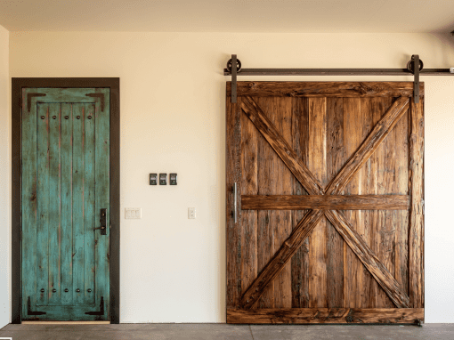 Teal & Mushroom Wood Doors