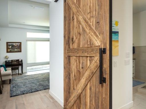 Mushroom Wood Master Bath Sliding Door