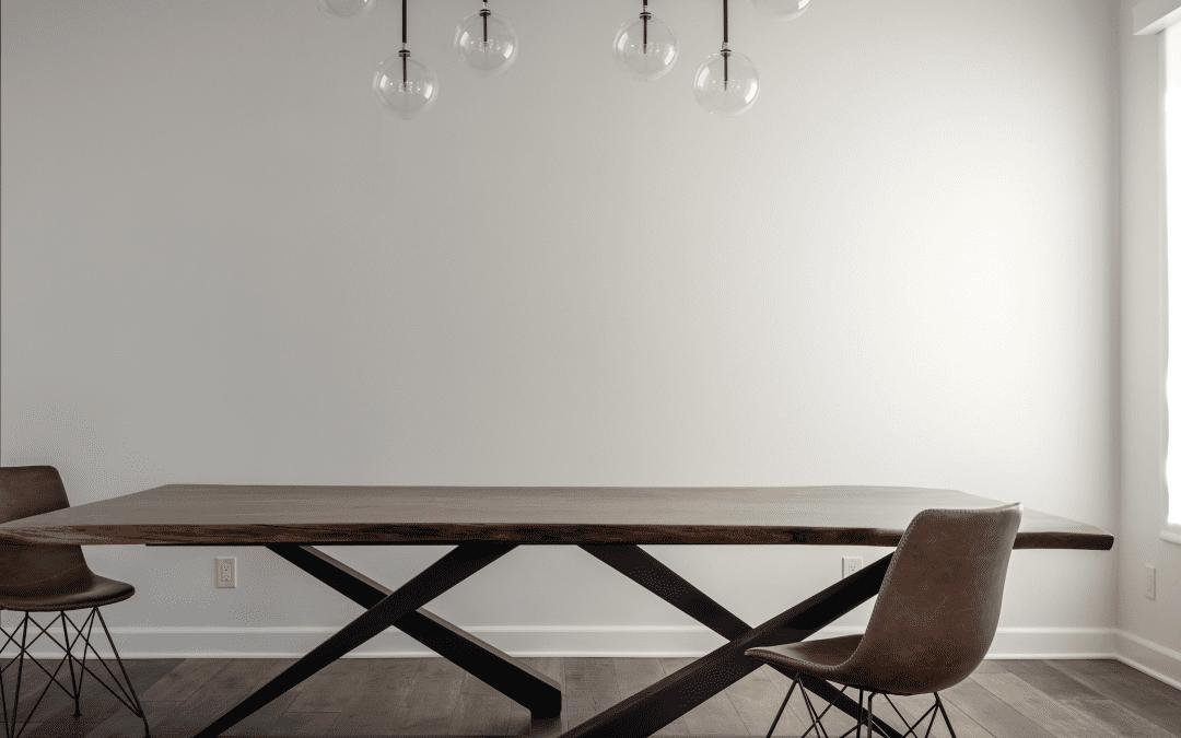 Walnut & Steel Base Dining Table