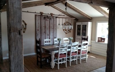 Custom Reclaimed Beams and Vintage Barn Door