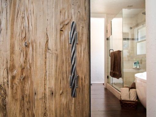 Master Bathroom Mushroom Wood Door