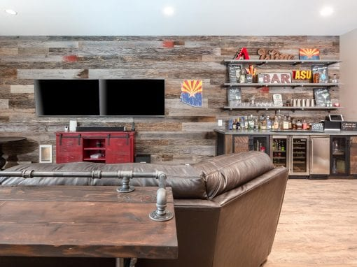 Custom Bar & Reclaimed Wood Wall