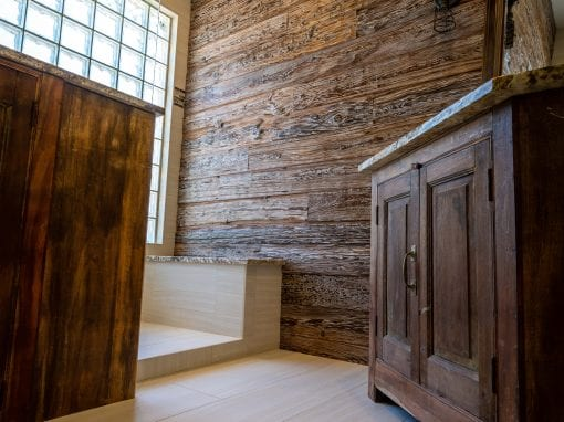 Reclaimed Mushroom Wood Bathroom Wall