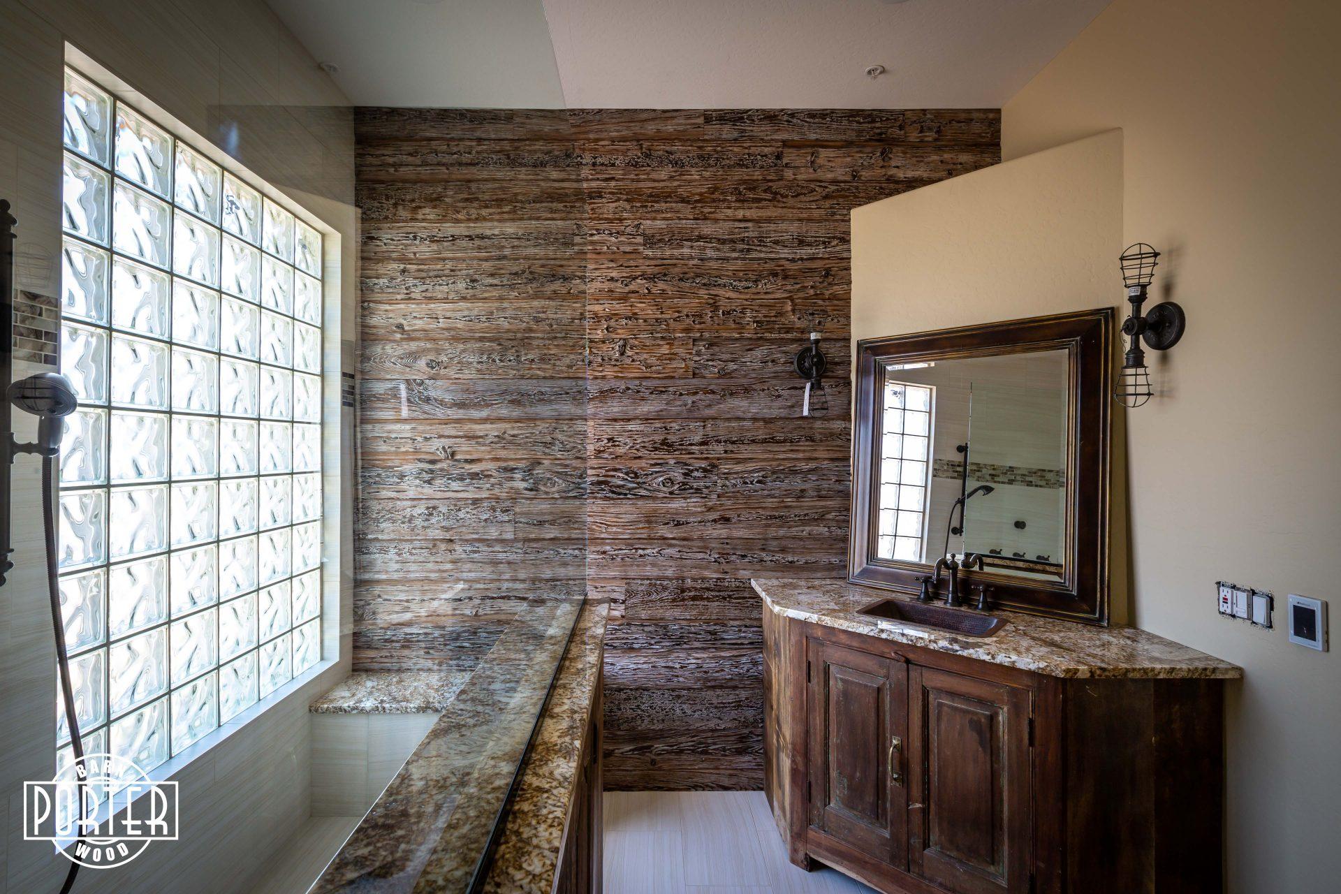 reclaimed mushroom wood bathroom wall  porter barn wood