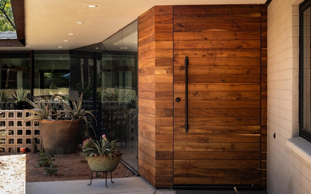 Reclaimed Walnut Pivot Entry Door