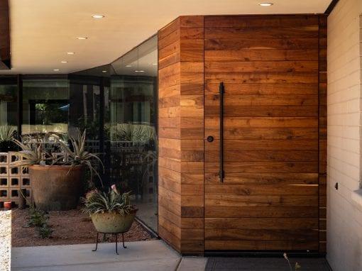 Reclaimed Walnut Pivot Entry Door