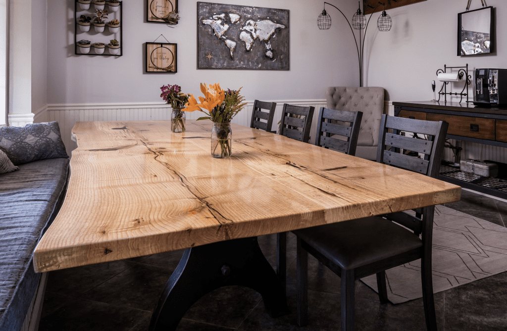 Wood Slab Dining Table Natural Live Edge Dine Tabletop White Oak Kitchen Island Raw Wooden Wide Custom Furniture  Rustic 5642a14