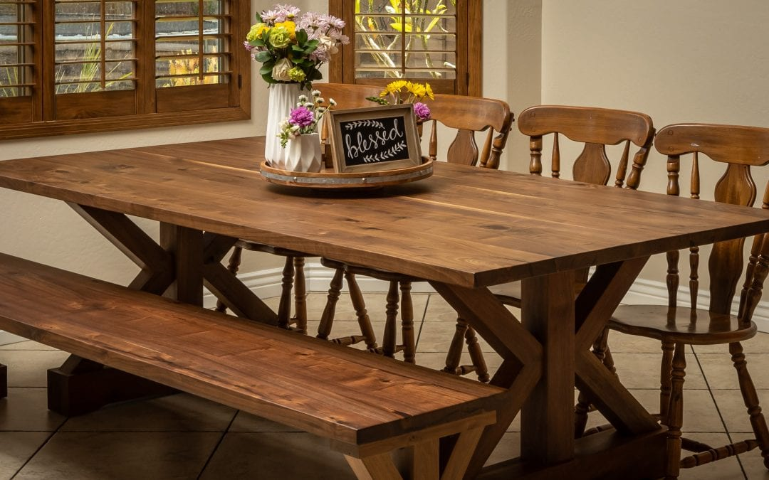 Walnut Trestle Table & Bench