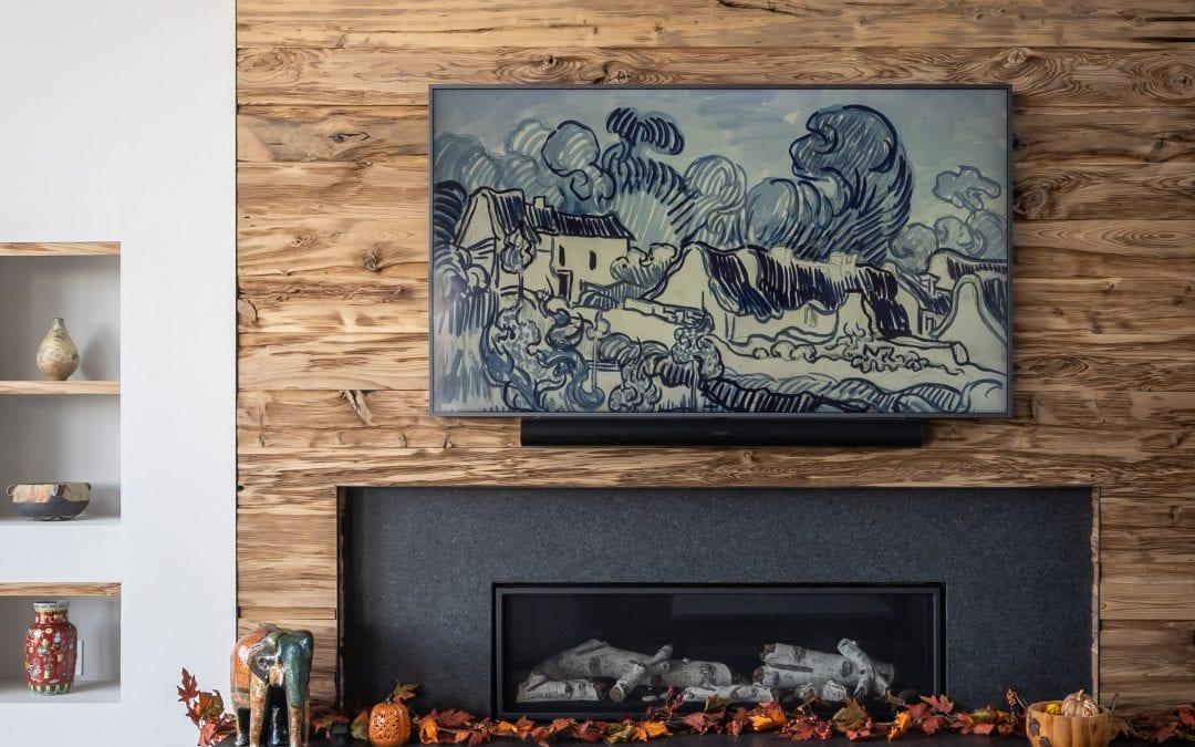 Modern Mushroom Wood Fireplace Wrap