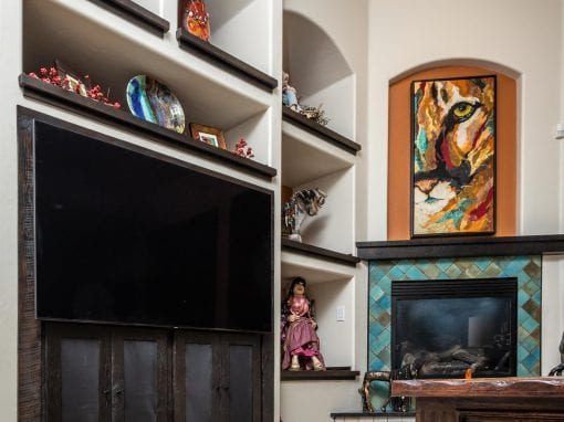 Entertainment Center, Shelving & Mantel