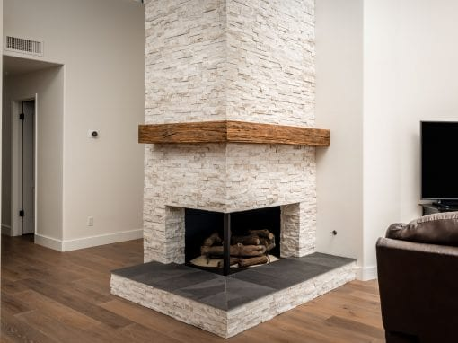 Modern Mushroom Wood Corner Box Mantel