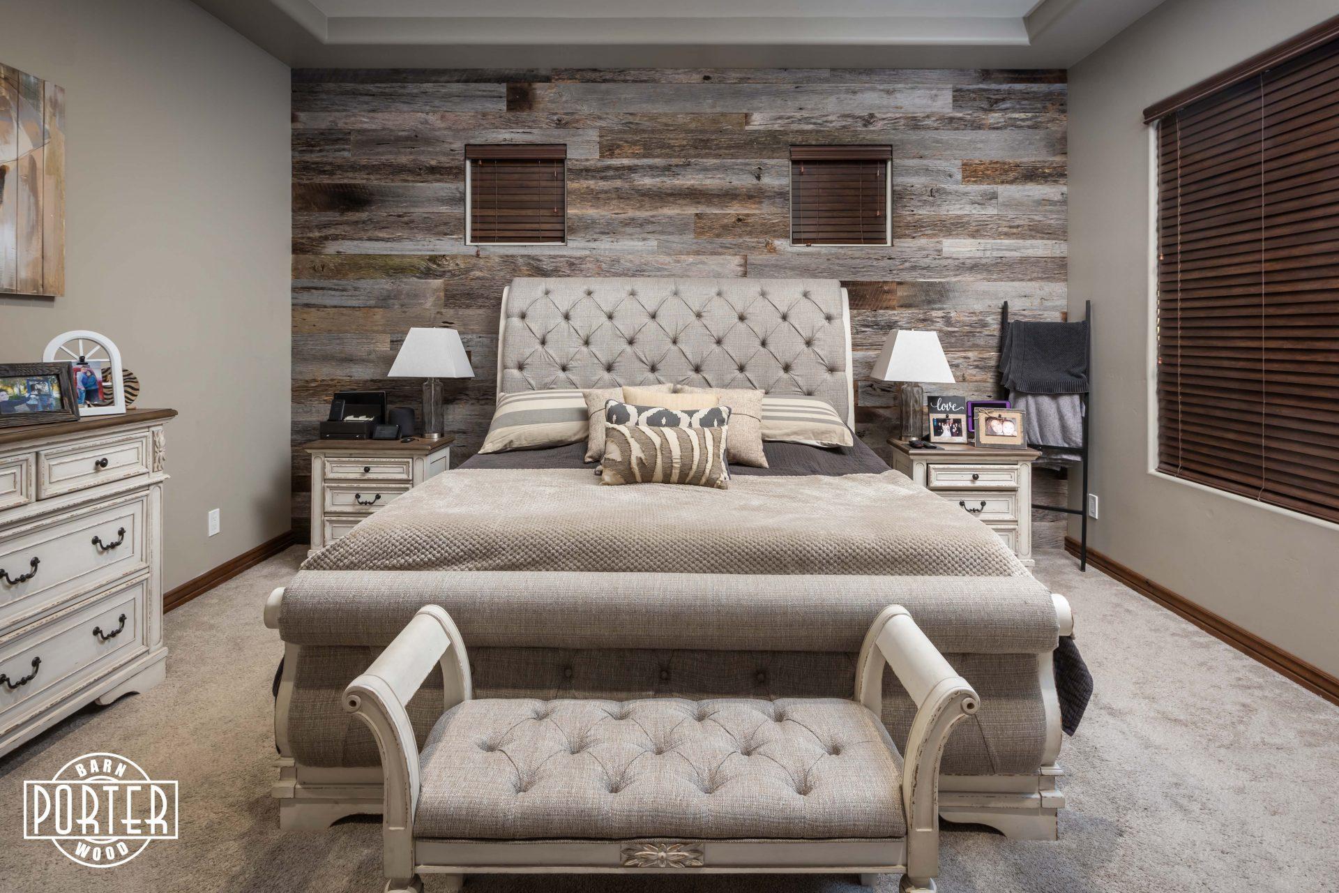 Reclaimed Tobacco Grey Master Bedroom Wall Porter Barn Wood