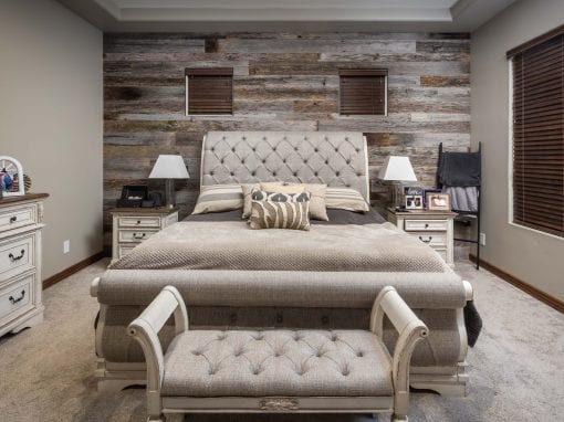 Reclaimed Tobacco Grey Master Bedroom Wall
