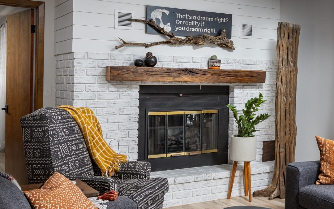 Reclaimed Chestnut Mantel & Saguaro Skeleton
