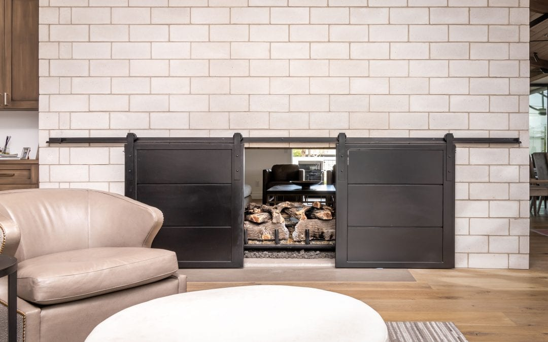 Bi-Part Fireplace Steel Sliding Doors