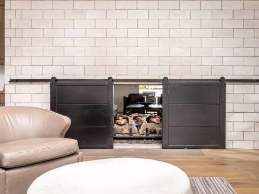 Bi-Part Fireplace Steel Sliding Doors