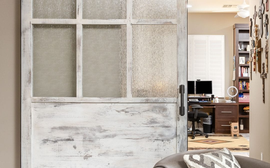Speckled white with rain glass sliding door