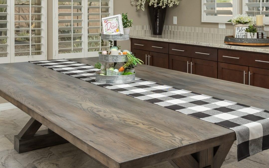 Grey Washed Mixed Hardwoods Trestle table