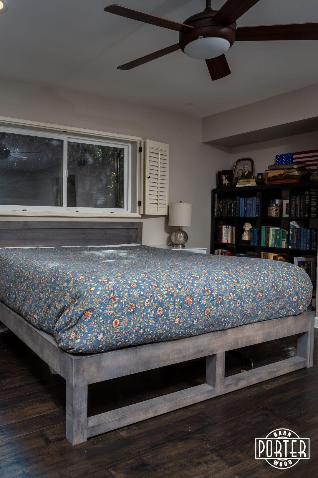 Custom Grey Mixed Hardwoods Bed Frame