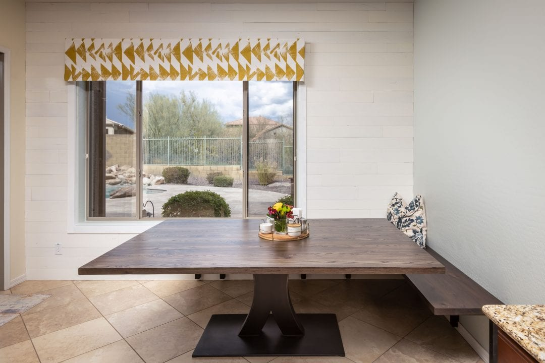 Table & Bench & Wood wall