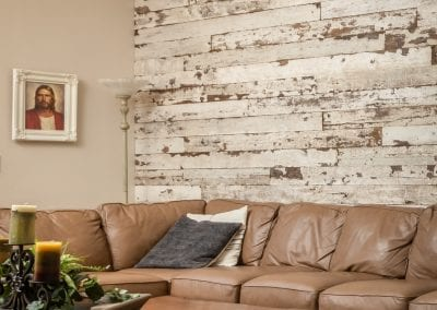 Family Room Reclaimed Wood Wall