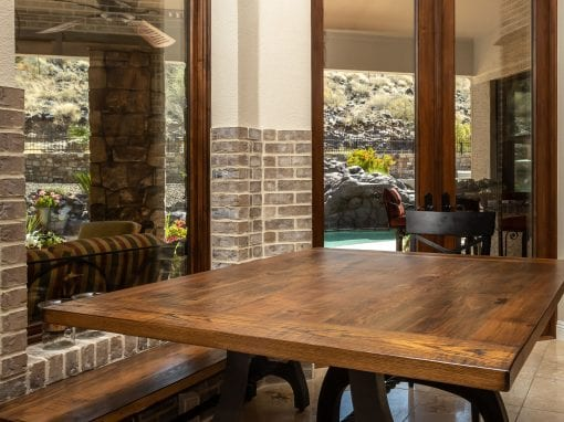 Custom Square Dining Table & BENCH