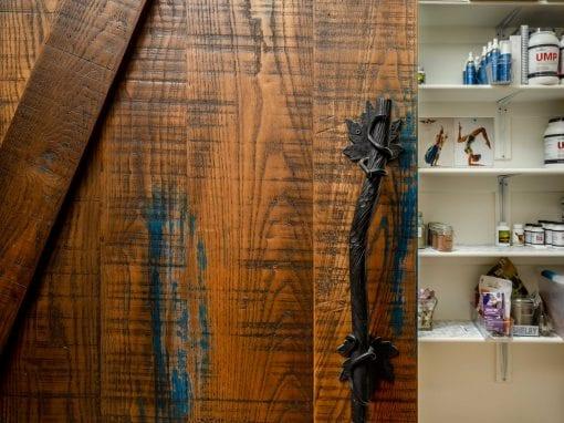Hints of Blue Sliding Pantry Door