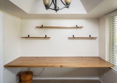 Floating Red Elm Desk & Shelves