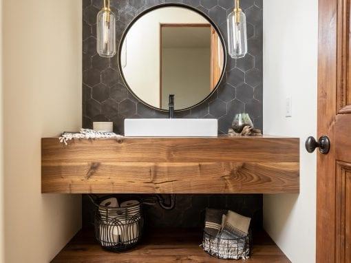 Walnut Floating Vanity & Shelf