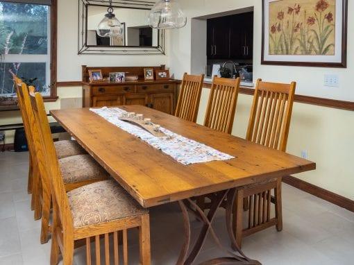 Red Oak Table & Rusty Patina Steel Base