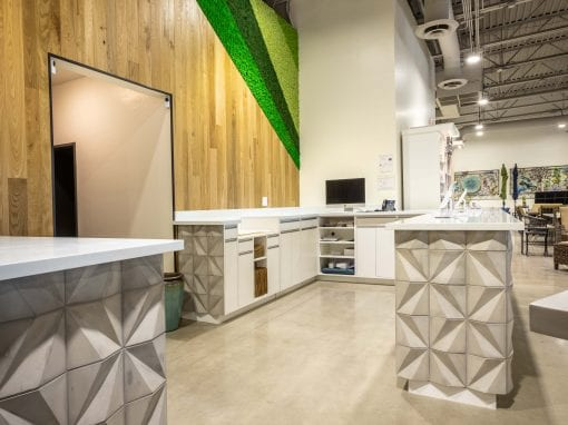 Pure Patio Origami Concrete Tile & Wood Wall