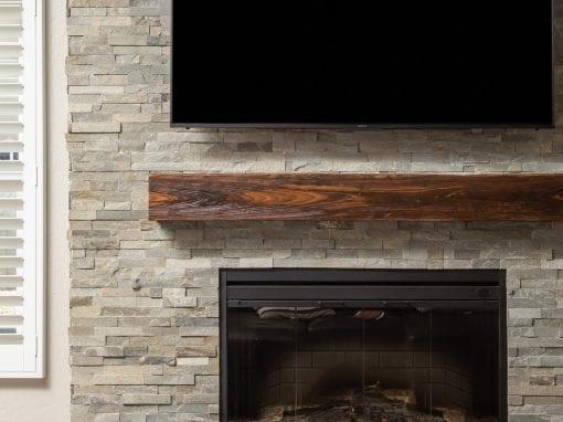 Mushroom Wood Fireplace Box Mantel