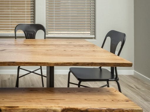 Custom Ash Table & Live Edge Bench