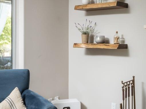 Live Edge Cedar Living Room Shelves