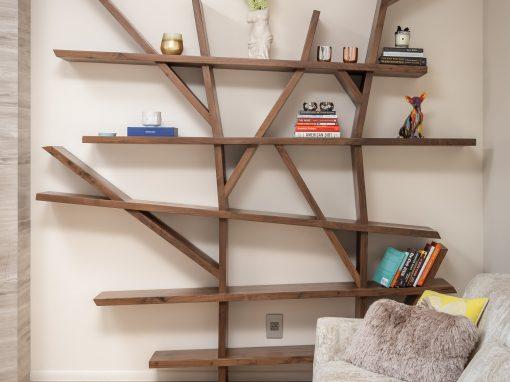 Angular Walnut Bookcase