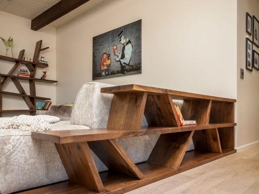 Walnut Angular Sofa Table