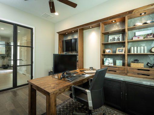 Walnut & Galvanized Steel Office Built-In
