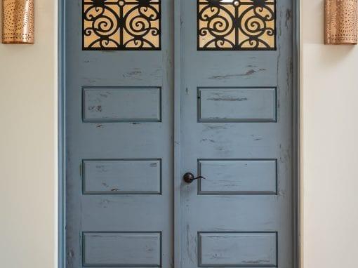 Alder Doors with Blue Finish & Iron Fabrication