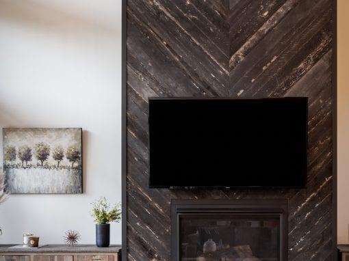 Speckled Black Chevron Fireplace Wrap
