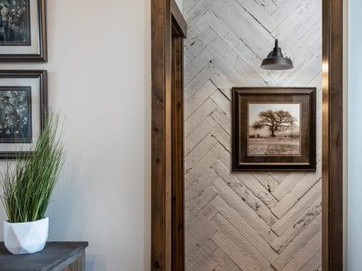 Speckled White Herringbone Hallway