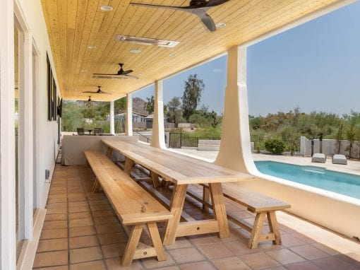 Mixed Hardwood Outdoor Table & Benches