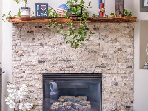 Cedar Live Edge Living Room Mantel